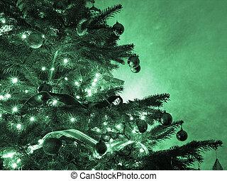 Christmas tree with green hue
