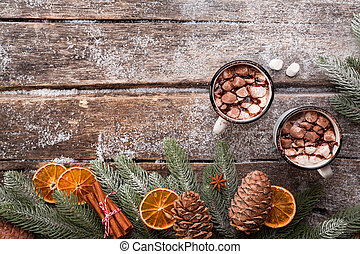 Hot Chocolate on a wooden table