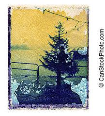 christmas tree polaroid transfer