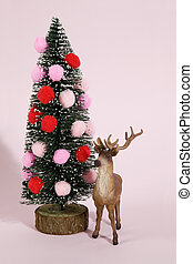 christmas tree pompoms and reindeer pink - snowy decorated...