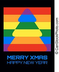 Christmas tree rainbow colors rounded
