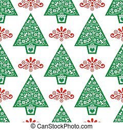 Christmas tree red and green folk art vector seamless pattern- Scandinavian style design with birds, flowers and snowflakes