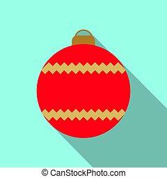Christmas tree red ball icon
