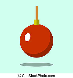 Christmas tree red ball icon isolated on iigt green background. Symbol of Happy New Year, Xmas holiday celebration, winter. Flat design for card. illustration
