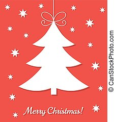 Christmas tree red card. Vector illustration
