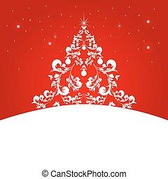 Christmas tree, red card