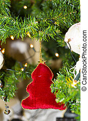 Christmas tree red decoration and lights