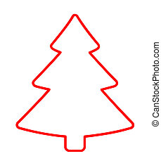 Christmas Tree Red Flat Icon On White Background