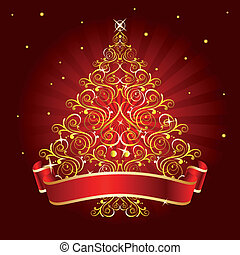 christmas tree red - gold christmas tree on red background