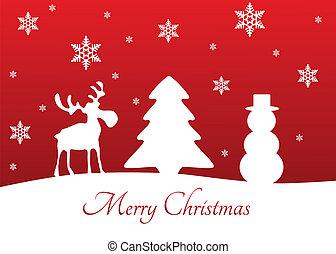 Christmas Tree Reindeer Snowman