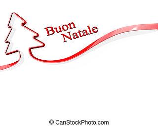 Christmas Tree Ribbon merry Christmas Italian Language - Red...