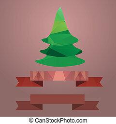 .Christmas tree ribbon retro color coral