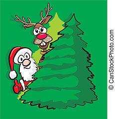 christmas tree, santa and reindeer