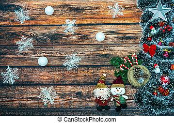 Christmas tree, Santa Claus and Snowman