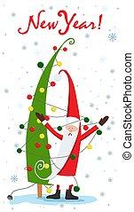 Christmas tree. Santa Claus and the garland. Christmas. Vector illustration