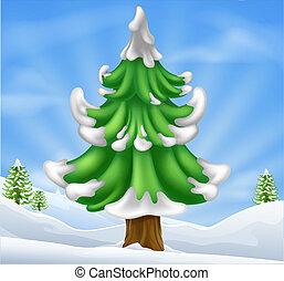 Christmas tree scene - Cartoon illustration of winter scene...