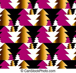 Christmas tree seamless geometry pattern in bright carnival colors. gold and red winter fest repeatable motif. vector illustration