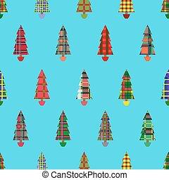 Christmas tree seamless pattern over cyan - Christmas tree...