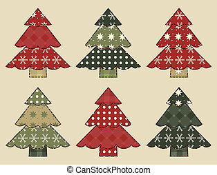 Christmas tree set for scrapbooking. Vector illustration in the style of patchwork.