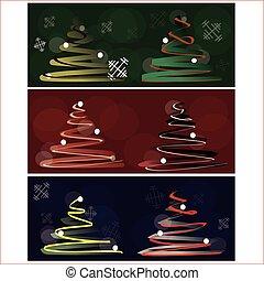 Christmas tree set on colorful back