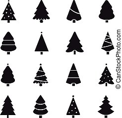 Simple christmas tree black silhouette outline.
