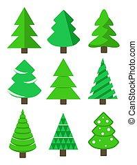 Christmas tree set, stock vector illustration