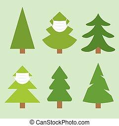 christmas tree set with face mask, christmas celebration during coronavirus pandemic, protective measures- vector illustration
