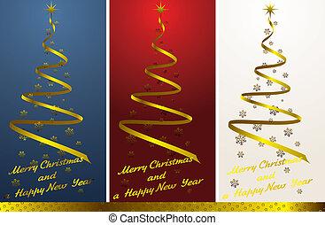 christmas tree set with golden decor