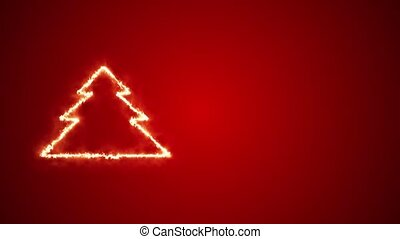 Christmas tree shape burning on a red background.