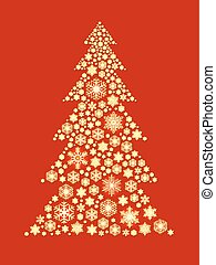 Christmas tree shape made of golden snowflakes on red background.