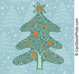 Christmas Tree Shape Maze Game