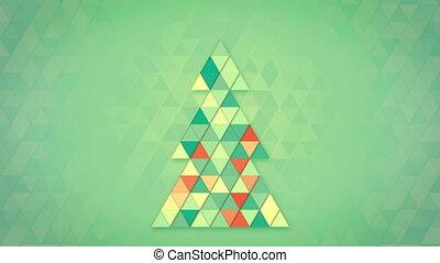 christmas tree shape of colorful triangles loop - christmas...