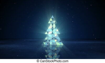 christmas tree shape of flashing triangles loop