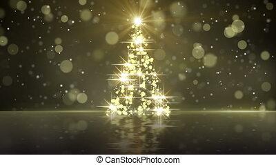 christmas tree shape of gold glares loopable