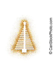 Christmas tree shape on golden glitter isolated on white background