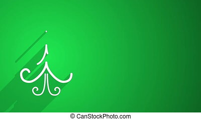 christmas tree shape with long shadows on green