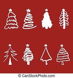 Christmas tree silhouette design vector set. Concept tree icon collection.