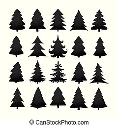 Christmas tree silhouette design vector set. Concept tree icon collection