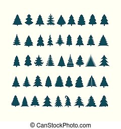 Christmas tree silhouette design vector set. Concept tree icon collection. Isolated on white background