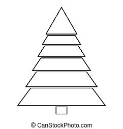 christmas tree silhouette isolated on white background