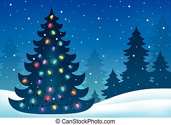 Christmas tree silhouette topic 7 - eps10 vector...