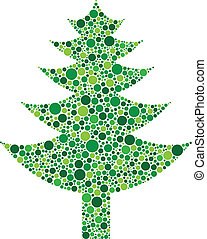 Christmas Tree Silhouette with Dots Pattern
