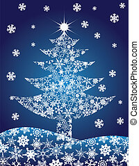 Christmas Tree Silhouette with Snowflakes Illustration