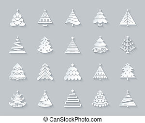 Christmas Tree simple paper cut icons vector set