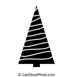 Christmas tree simple silhouette design isolated on white background