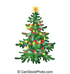 Christmas tree single icon in cartoon style for design. Christmas vector symbol stock illustration web.