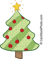 Christmas tree sketch - Doodle style colorful Christmas tree...