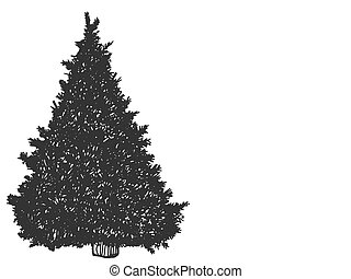Christmas tree. Sketch scratch board imitation. Black and white. Engraving vector illustration.