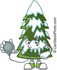 Christmas tree snow cartoon mascot style in a Doctor costume with tools