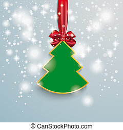 Christmas Tree Snow Lights Red Ribbon